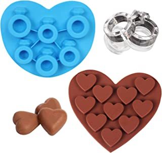 3D Heart Shaped Silicone Mold Diamond Ring Ice Cube Mold Flexible Ice Maker, DIY Backing Tool for Whiskey, Wine Cocktails Jelly Candy Chocolate