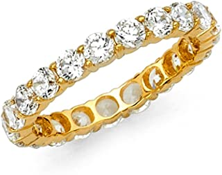 Sonia Jewels 14k Yellow or White Gold Round Cubic Zirconia CZ Prong Set Eternity Ring Anniversary Wedding Band