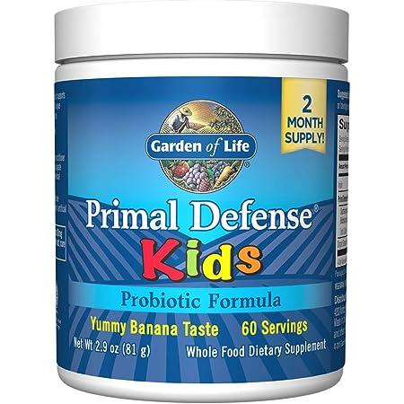 Garden of Life Whole Food Primal Defense HSO Probiotic Formula Kids Dietary Supplement Vegetarian Powder, Banana, 2.9 Oz