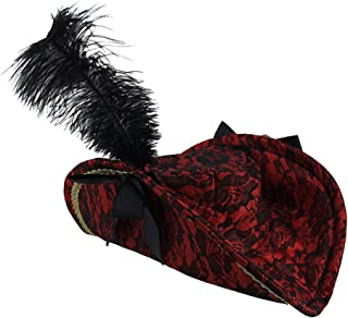 Ladies Red & Black Lace Feather Pirate Hat