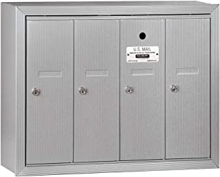 Salsbury Industries 3504ASU Surface Mounted Vertical Mailbox with 4 Doors and USPS Access, Aluminum
