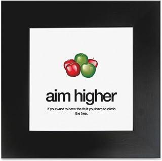 "Aurora Products Motivational Poster, Aim Higher, 15-1/2""x15-1/2"", Black (AUAMPAIM)"