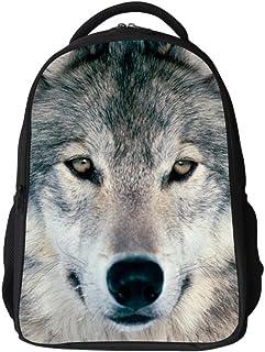 Lawlait 個性動物 白狼おしゃれ かっこいいデザイン バックバッグ 男女兼用 3D なドクロ柄 (白狼)