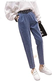 Howely Women High Waisted Fall Winter Baggy Style Wild Corduroy Harem Pants