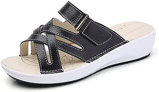 Women Wedge Flip Flops Sandals,Casual Open Toe Corss Tie Flat Beach Slides Shoes