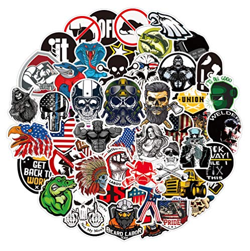 100 PCS Hard Hat Stickers - Funny Construction Vinyl Decals Sticker for Tool Box Helmet Hood Hardhat, Gifts for Adult Essential Worker Welder Construction Union Military Oilfield Electrician