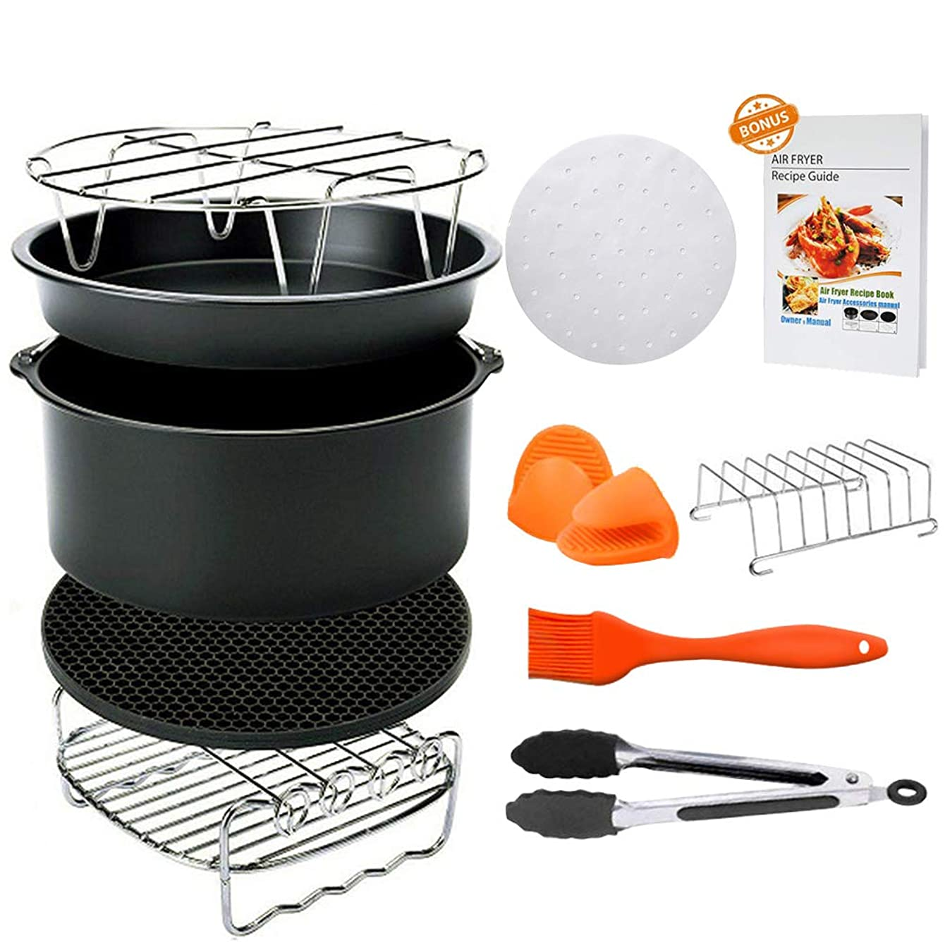 8 inch Air Fryer Accessories, Blusmart 11 pcs Deep Fryer Accessories Set for GoWISE Phillips COSORI Ninja Air Fryer 4.2 QT - 5.8 QT, FDA Approved, BPA Free,Cookbook Included