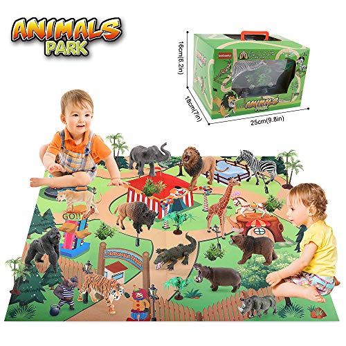 Safari Animals Toys Figure with Activity Play Mat & Trees, 24 PCS Realistic Plastic Jungle Wild Zoo Animals Figurines Playset for Kids Toddlers, Boys & Girls,Educational Toys Gifts for 3 4 5 Years Old