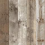 Tempaper HE10093 Herringbone - Papel pintado extraíble para pegar y despegar, Madera reciclada, 20.5' x 16.5', Weathered