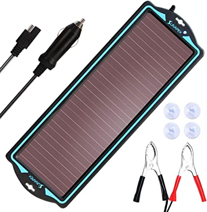 SUNAPEX 1.8W 12V Solar trickle Charger,Battery Charger,Battery Tender Portable Power Solar Panel Suitable for Automotive, Motorcycle, Boat, ATV,Marine, RV, Trailer, Snowmobile, etc.