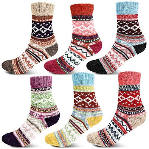 Jovego Socken Damen Winter, 6 Paar Warme Damen Socken, Bunte Farbe Socken Vintage Wintersocken Atmungsaktiv Weich Stricksocken hohe Qualität Wollesocken, Geeignet für Zuhause, Schule & Büro