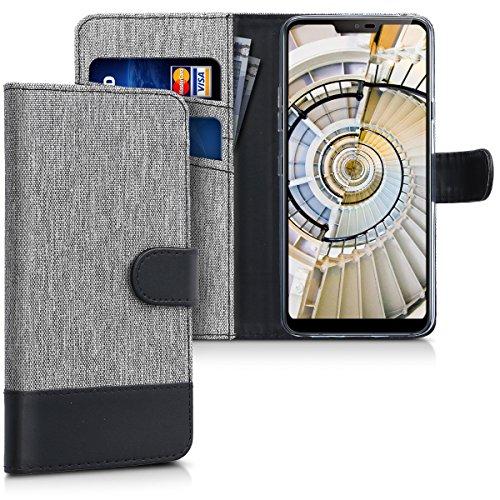 kwmobile Wallet Hülle kompatibel mit LG G7 ThinQ/Fit/One - Hülle mit Ständer - Handyhülle Kartenfächer Grau Schwarz