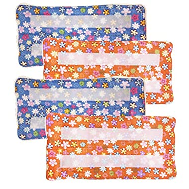 Xanitize Reusable Washable Eco Friendly Pads for the Swiffer Wet Jet | Velcro Attachment (Blue & Orange Flower) 4-pack