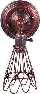 OSALADI Lampe de Chevet Style Industriel Cage en Fer Chambre Lumineuse Lumière de Nuit Accessoire Applique Murale (Rouge)