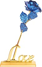 MSA JEWELS 24K Gold Rose with Love Stand & Black Velvet Gift Box for Mother's Day, Valentine's Day, Day, Birthday, Christmas, Thanksgiving & Home Decor (Blue)