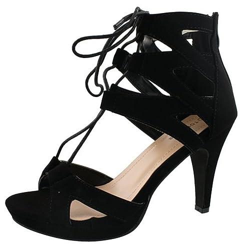 7352e448d14f Top Moda Women s Pebble-2 Gladiator Lace Up Bootie Sandals