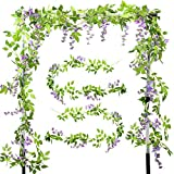 XHXSTORE 2pcs Guirnalda de Flores Artificiales Wisteria Colgantes 2m Enredadera Artificial Glicinia Purpura Falsa Vine para Arco Boda Maceta Interior Exterior Decoracion Valla Fiesta Patio Cocina