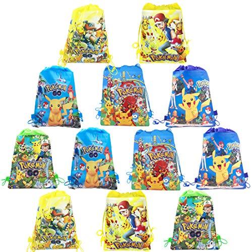 WENTS Mitgebsel Kindergeburtstag Pokemon Turnbeutel Gastgeschenke Beutel 12 Stück Geschenktüte für Jungen Mädchen, Mitbringsel Geschenktaschen Geburtstagsfeier Partytüten