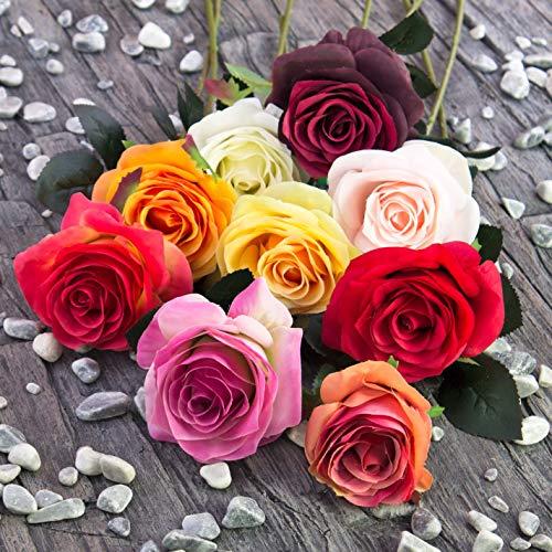 artplants.de Künstliche Rose Simony, rot, Textil, 45cm, Ø 8cm - Kunstblume - 4