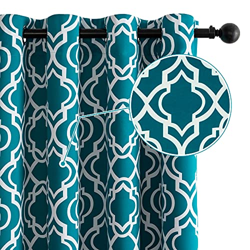 """Drewin Blackout Curtains for Bedroom 63 Inch Length 100% Sun Blocking Moroccan Teal Window Curtain Thermal Insulated Drapes Noise Reducing Drapery Room Decor, 2 Panels Turquoise 52""""Wx63""""L"""