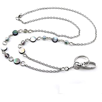 LUXIANDA Beautiful ID Necklaces ID Balled Beads Lanyards for Keys ID Badge Holder Stainless Steel Chain