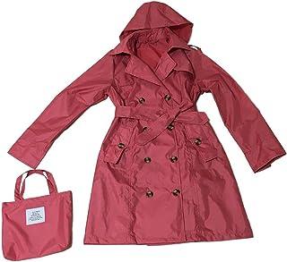 (イエローパンダ) レインコート レディース トレンチコート スプリングコート 防水 収納袋付き フード付き 軽量 花粉がつきにくい