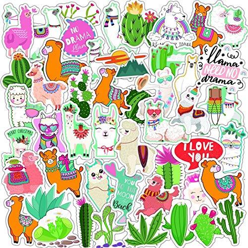 XIAMU Bonitas Pegatinas de Grafiti a Prueba de Agua de Alpaca, monopatín, Nevera, Guitarra, Ordenador portátil, Motocicleta, Equipaje de Viaje, Chico, Juguete, calcomanía 50 Uds