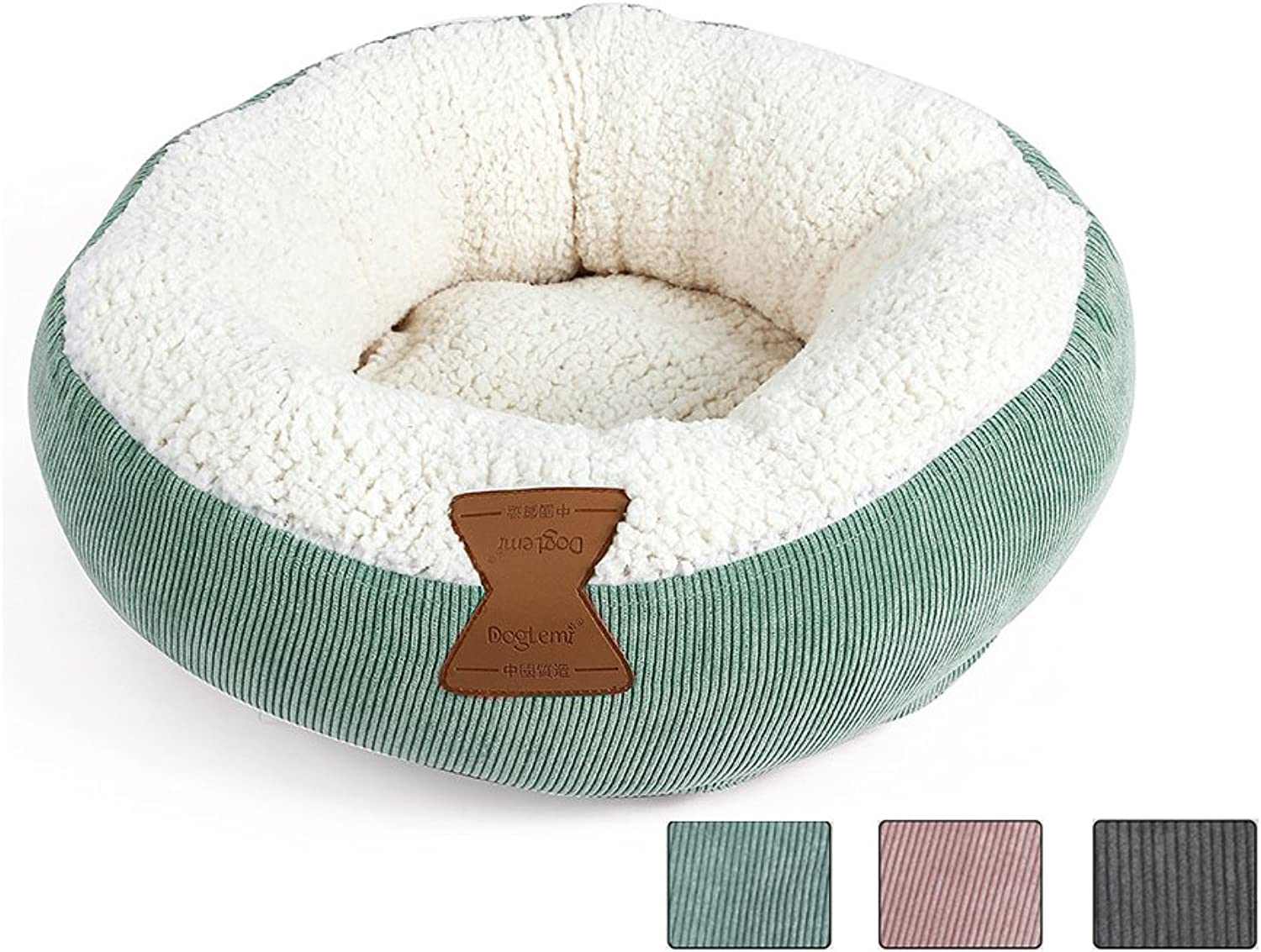 HongYH Winter Cat Bed Round Donut Fleece Pet Cushion Oval Plush Soft Warm Washable Doggy House with Thick Cotton