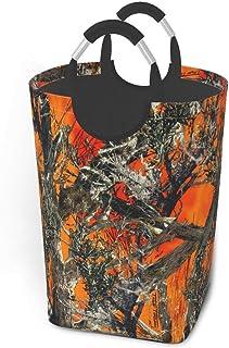 Liumt Camouflage Orange Grand Panier à Linge Corbeille à Linge Queue de Poisson de mer avec poignées Poubelle de Lavage de...