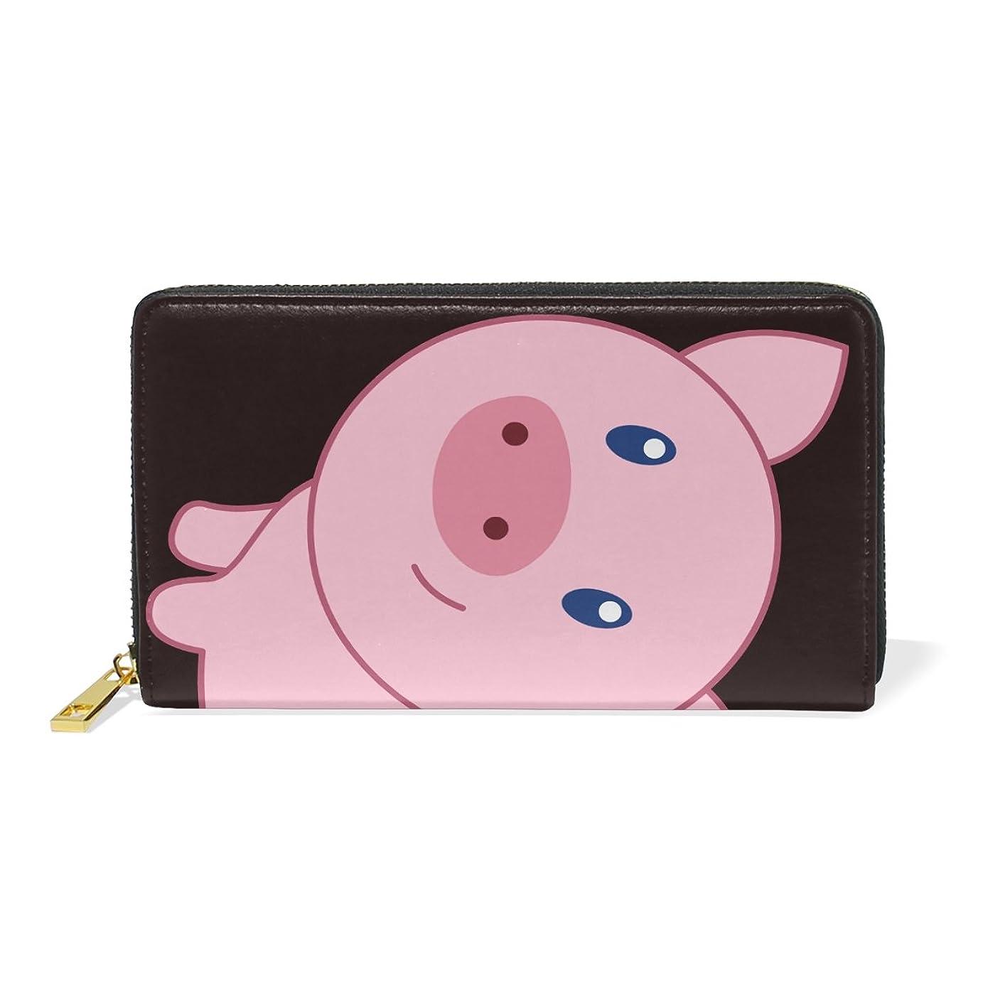 クリケットしゃがむ私マキク(MAKIKU) 長財布 レディース 本革 大容量 ラウンドファスナー カード12枚収納 プレゼント対応 かわいい 豚 ピンク