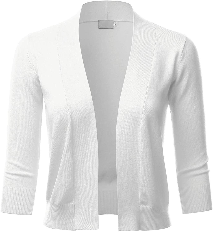 LALABEE Women's Classic 3/4 Sleeve Open Front Cropped Bolero Cardigan (S~XXL)