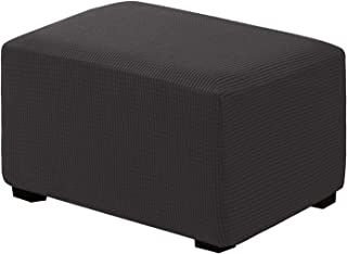 RHF Ottoman Slipcovers Stretch Fabric Rectangle Folding Storage Ottoman Covers Footrest Rectangle slipcover with Elastic Bottom (Oversize, Darkgrey)