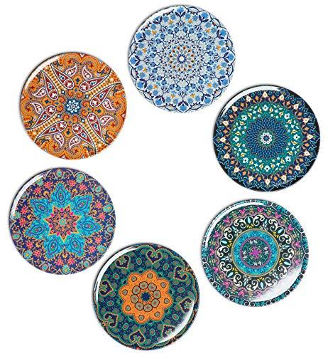 BOHORIA® Premium Design Untersetzer (6er Set) - Dekorative Untersetzer für Glas, Tassen, Vasen, Kerzen auf ihrem Esstisch aus Holz, Glas oder Stein (rund | 9cm) (Jumeirah)