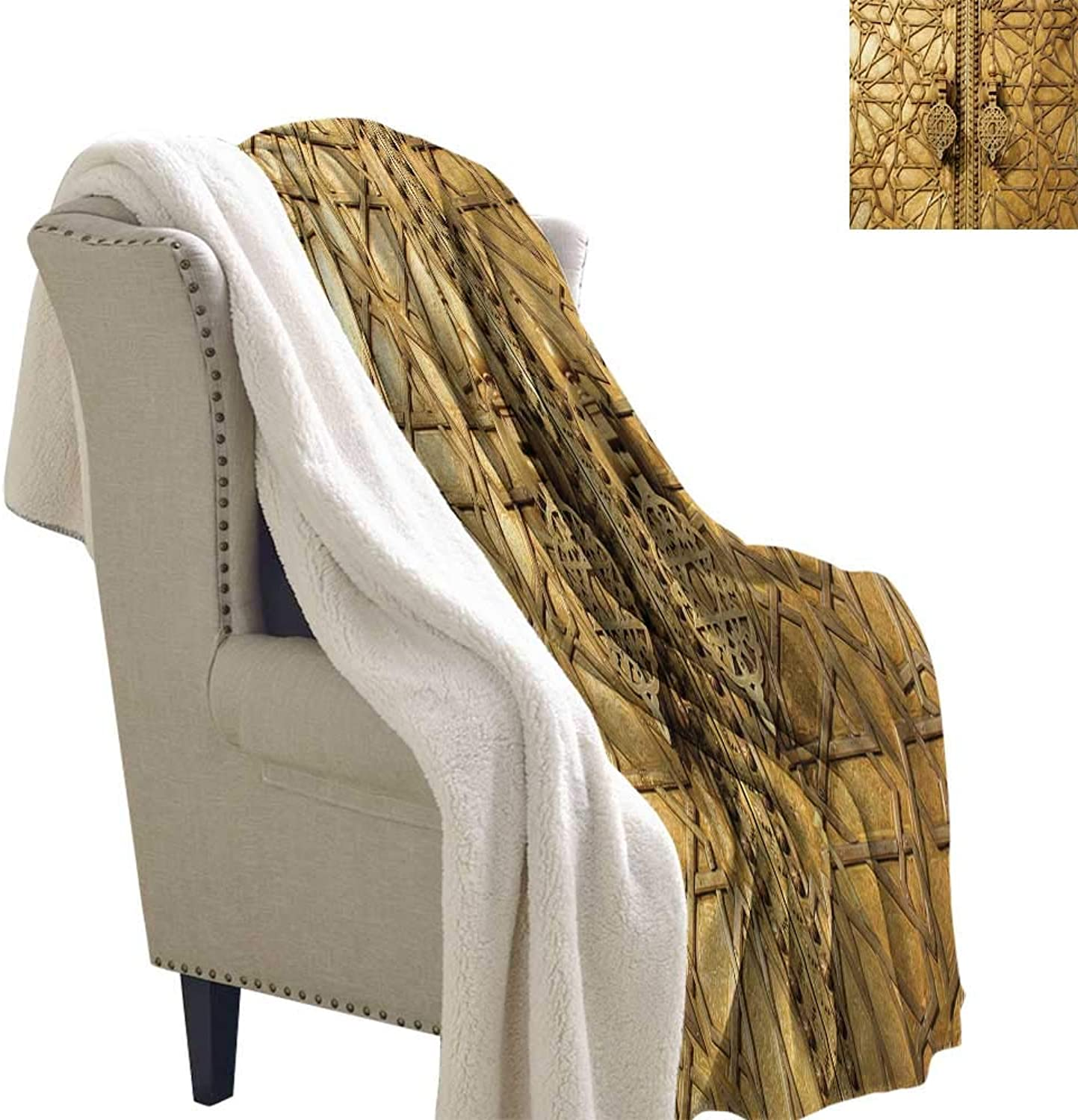 Sunnyhome Mgoldccan Blanket Small Quilt 60x32 Inch Main Gates of Royal Palace in Marrakesh Mgoldcco Travel Tourist Attraction Photo Sherpa Throws Pale Brown