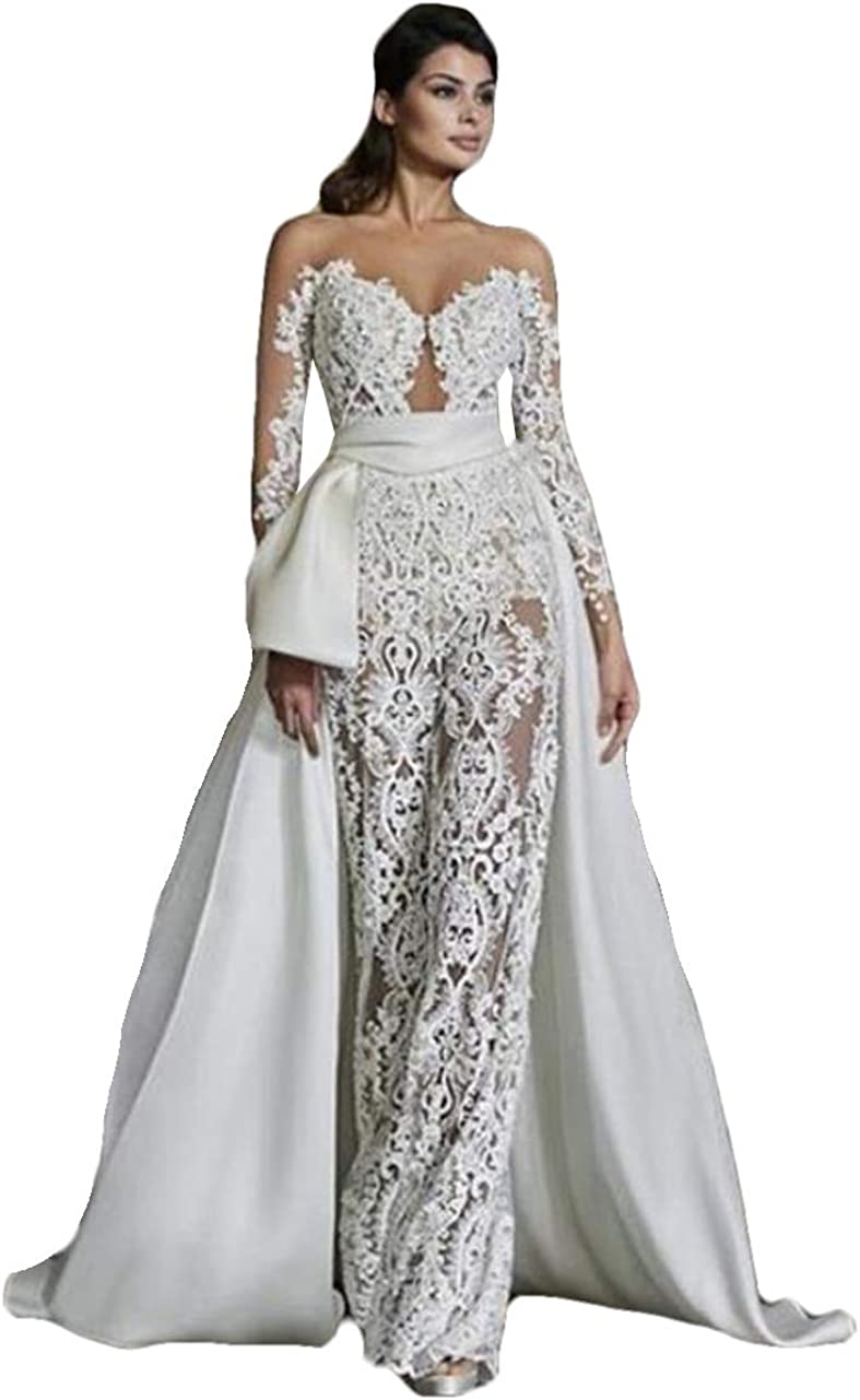Illusion Jumpsuit Wedding Dresses Long Sleeves with Appliques Lace Bridal Jumpsuit for Wedding with Detachable Train