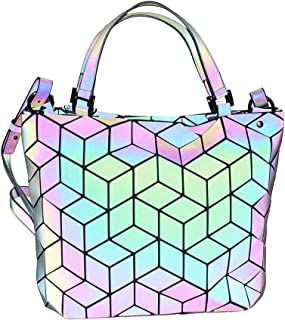 HotOne Luminous Geometric Purse and Handbag Holographic Purse Reflective Purse Fashion Backpacks