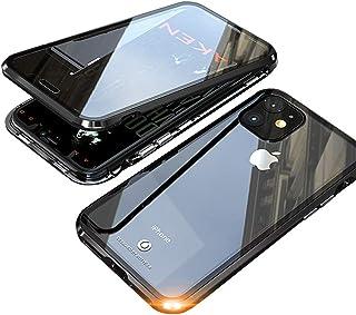 JCGOOD iPhone 11 pro ケース 表面と背面 透明 両面 強化ガラス 360°全面保護 マグネット式 アイフォン11 pro カバー アルミ バンパー 軽量 薄型 擦り傷防止 耐衝撃 ワイヤレス充電対応 ブラック