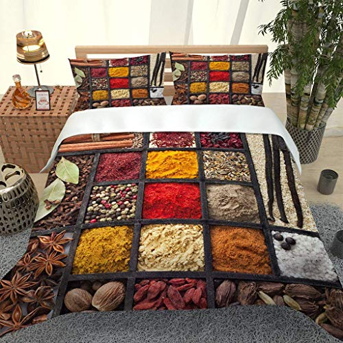 AOJHG Duvet Cover Single Bed, 135X200Cm Microfiber Durable Fade Resistant Fabric - Kitchen Spice Pattern Quilt Cover 2 Pillowcases-Soft Hypoallergenic,With Zipper, 3D Printed Quilt Cover