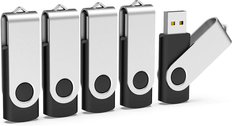 Memoria USB 4GB, TOPESEL Pendrive USB 2.0 Flash Memoria Stick Flash Drive Llave USB, Pack con 5 Unidades, Negro