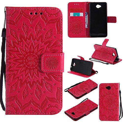 YYhin Cáscara Case para Funda Microsoft Lumia 650/Lumia 650 Dual-SIM, Cartera extraíble de Piel magnética Desmontable con Monedero, Funda de sujeción para.(Rojo)