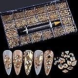 8620Pcs Mixed Crystal Kit,14 Style Glass Crystal Nail Art Rhinestones Diamonds Gems for Nail Art Craft Decorations with Picking Pen(700 Pcs Crystals+7920 Pcs Rhinestones,Champagne)