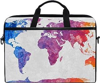 MASSIKOA Watercolor World Map Laptop Shoulder Messenger Bag Case Sleeve for 14 Inch to 15.4 inch Laptop