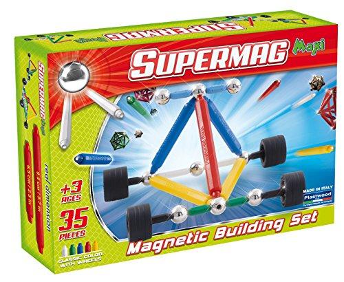 Supermag Toys - 0132 - Maxi Wheels Gioco di Costruzioni Magnetico, 35 Pezzi