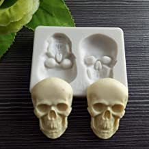 Halloween 3D Skeleton Head Skull Silicone Mold DIY Fondant Mold Paste Crystal Soap Mould Jelly Shots Cupcake Cake Topper Decoration Desserts Candy Ice Cube Chocolate Handmade Ice Cream Pudding