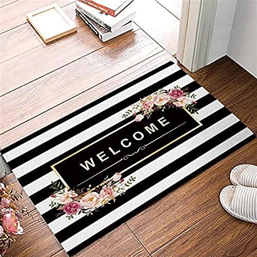 Felpudo de bienvenida de 45,7 x 76,7 cm, antideslizante, para puerta interior, puerta delantera/zapatero Kithchen, rayas blancas y negras decoración de flores -