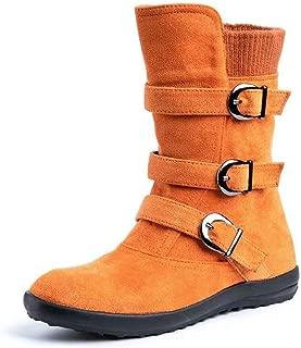 NEOKER stivaletti donna piatto biker stivali eleganti calzature fibbia inverno autunno scarpe comode boots caviglia nero marrone grigio arancio 35 43