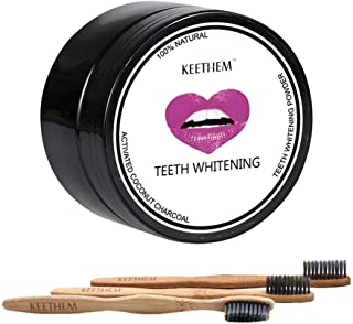 Teeth Whitening (1 Pack)– Activated Charcoal Toothpaste Teeth Whitening Powder with 3 Bristles Bamboo Toothbrushes (Teeth whitening)
