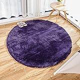 Alfombras mullidas súper Suaves, alfombras de Terciopelo, alfombras Redondas, Hermosas alfombras de Dormitorio mullidas, adecuadas para Cojines de sofá de baño (púrpura, 120x120cm)