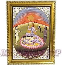 Om Pooja Shop Chinnamasta Devi Photo in Wooden Frame for Das Mahavidya Worship (Golden)