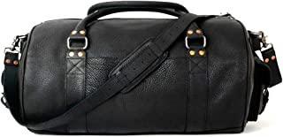 Full Grain Bison Leather Duffle Bag for Men | Ryder Reserve by Buffalo Jackson | Large Size for Travel Overnight Weekend or Sports | Made in North America | Black